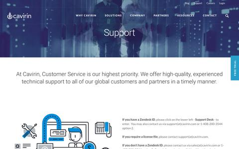 Screenshot of Support Page cavirin.com - Support - captured April 10, 2018