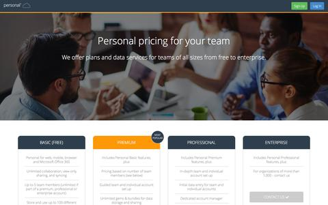 Screenshot of Pricing Page personal.com - Pricing | Personal.com - captured March 24, 2016