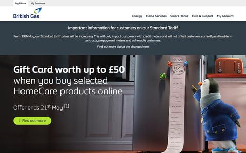 Screenshot of Home Page britishgas.co.uk - Gas and electricity, boilers and energy efficiency - British Gas - captured April 21, 2018