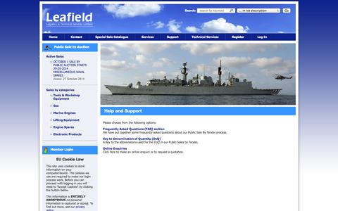 Screenshot of Support Page leafieldlogistics.co.uk - Help and Support from Leafield Logistics and Technical Services - captured Oct. 2, 2014