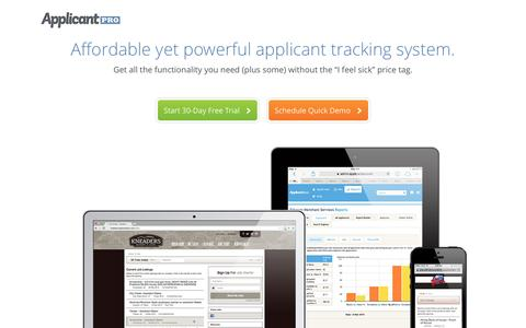 Screenshot of Landing Page applicantpro.com - Applicant Tracking System - ApplicantPro - captured Aug. 17, 2016