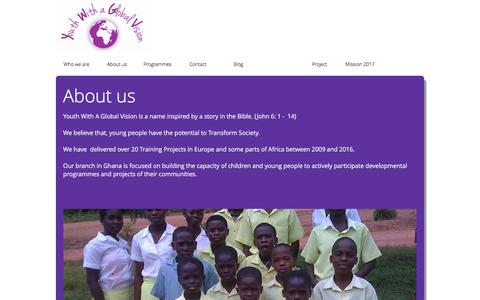 Screenshot of About Page youthwithaglobalvision.org - Youth with a Global Vision - captured June 11, 2017