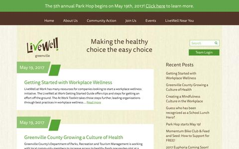 Screenshot of Press Page livewellgreenville.org - News - LiveWell Greenville - captured May 21, 2017