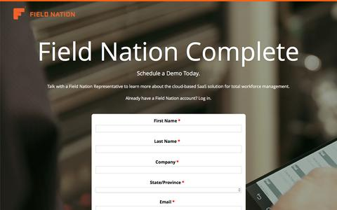 Screenshot of Landing Page fieldnation.com - Get Work Done with Field Nation - captured Sept. 27, 2016