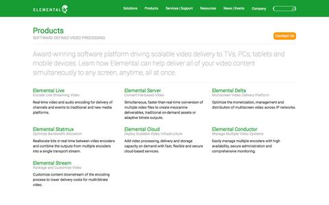 Screenshot of Products Page elementaltechnologies.com - Software Defined Video Processing Enabling Multiscreen Delivery - captured June 17, 2015