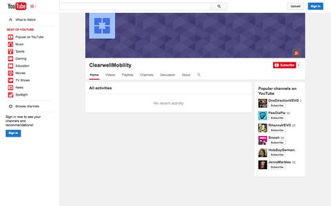 Screenshot of YouTube Page youtube.com - ClearwellMobility  - YouTube - captured Oct. 22, 2014