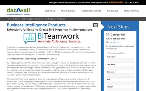 Screenshot of Products Page datavail.com - Business Intelligence (BI) & Analytics Products and Extensions | Datavail - captured Sept. 15, 2016
