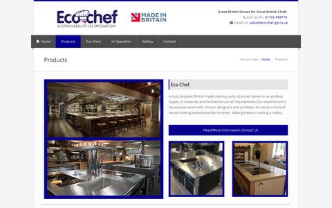Screenshot of Products Page eco-chef-gb.co.uk - Eco Chef | Ech Chef i | Bespoke British made cooking suite - captured May 22, 2016