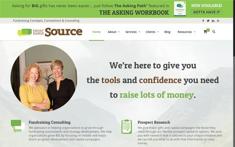Screenshot of Home Page frontrangesource.com - Front Range Source - Fundraising Consulting, Concepts & Connections - captured Aug. 23, 2018