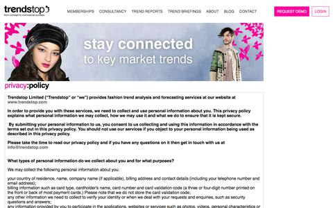 Screenshot of Privacy Page trendstop.com - Fashion Trend Forecasting Agency for Fashion, Design and Creative Industry Professionals - captured Oct. 29, 2017