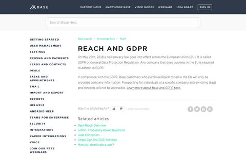 Screenshot of Support Page getbase.com - Reach and GDPR – Base Support - captured Oct. 9, 2018
