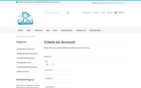 Screenshot of Signup Page colourpresentations.com - Create an Account - captured Sept. 30, 2014