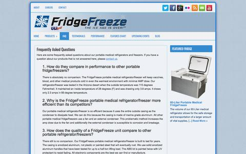 Screenshot of FAQ Page fridgefreeze.com - Questions Frequently Asked about FridgeFreeze refrigerators freezers - captured March 1, 2017