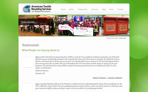 Screenshot of Testimonials Page atrscorp.com - Testimonials - ATRS - captured Oct. 4, 2014