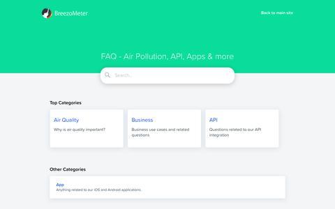 Screenshot of FAQ Page breezometer.com - FAQ | BreezoMeter - captured Jan. 5, 2019