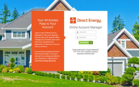 Screenshot of Login Page directenergy.com - Log into Your Account, Pay Your Bill and More   Direct Energy - captured Jan. 7, 2016