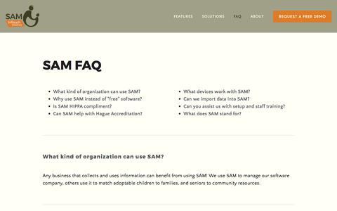 Screenshot of FAQ Page inreachsolutions.com - FAQ — SAM | InReach Solutions - captured June 7, 2017