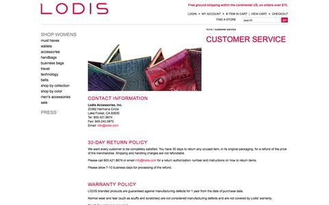 Screenshot of Support Page lodis.com - Lodis   Leather Designer Wallets - Handbags - Purses - captured Sept. 30, 2014