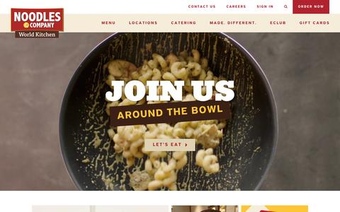 Screenshot of Home Page noodles.com - Noodles & Company - Noodles, Pasta, Salads & More - captured Dec. 15, 2015