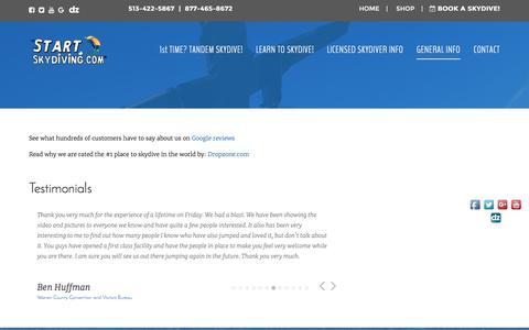 Screenshot of Testimonials Page startskydiving.com - Testimonials - Start Skydiving - captured Aug. 16, 2016