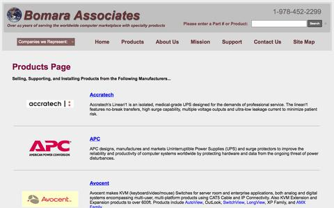 Screenshot of Products Page bomara.com - Bomara Associates a direct sales & support office for these products: - captured Oct. 5, 2014