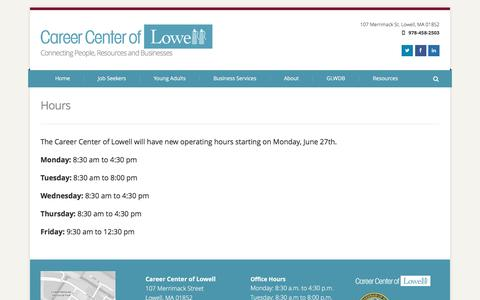 Screenshot of Hours Page cclowell.org - Hours - captured Oct. 21, 2016
