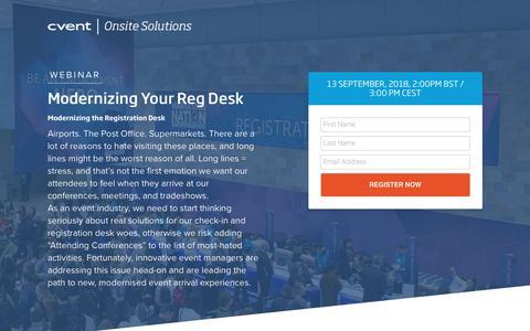 Screenshot of Landing Page cvent.com - Webinar | Cvent - captured Sept. 19, 2018