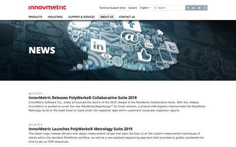 Screenshot of Press Page innovmetric.com - News   InnovMetric Software - captured Oct. 27, 2019