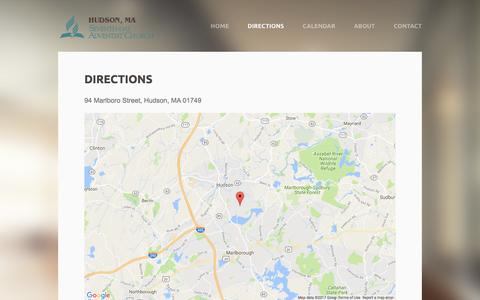 Screenshot of Maps & Directions Page weebly.com - Directions - Hudson SDA Church - captured Feb. 21, 2017