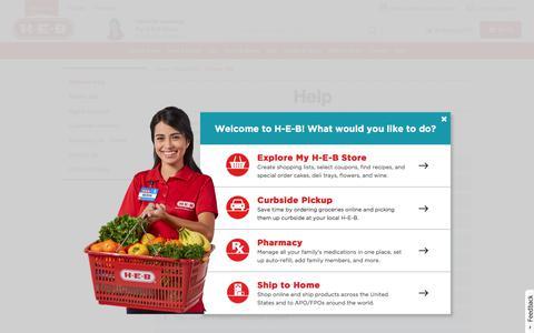 Screenshot of FAQ Page heb.com - Help FAQs - captured July 11, 2017