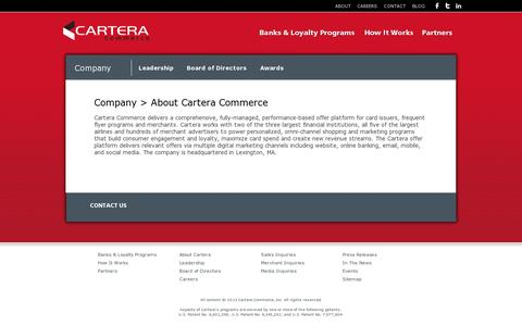 Screenshot of About Page cartera.com - Cartera Commerce, Inc.  -  Company  -  About - captured July 19, 2014