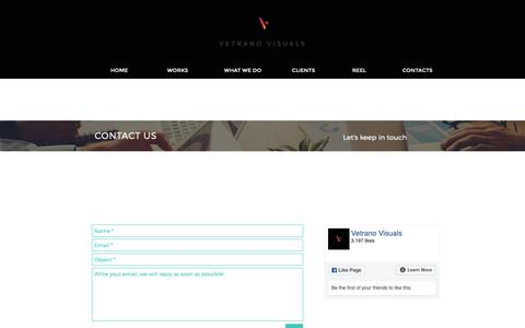 Screenshot of Contact Page vetranovisuals.com - Vetrano Visuals | Contacts - captured Oct. 19, 2018
