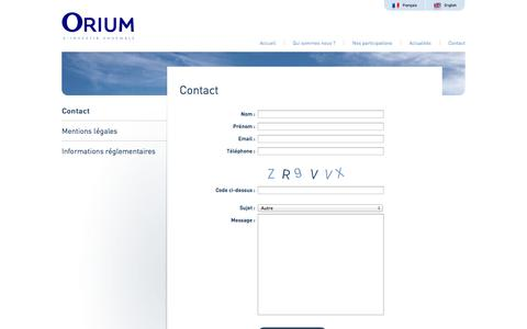 Screenshot of Contact Page orium.fr - Orium - S'investir ensemble - Contact - captured Oct. 26, 2014