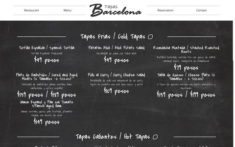 Screenshot of Menu Page barcelonatapas.net - Puerto Vallarta Restaurant - Barcelona Tapas - captured Nov. 4, 2014