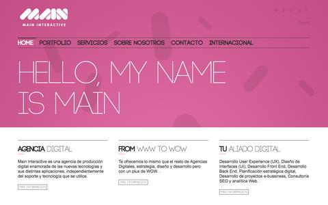 Screenshot of Home Page maininteractive.es - Main Interactive Agencia digital - Main Interactive - captured Sept. 30, 2014