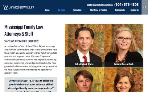 Screenshot of Team Page jrwlaw.com - Our Mississippi Family Lawyers | John Robert White, PA - captured Oct. 16, 2017