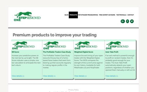 Screenshot of Products Page onestepremoved.com - Products - Algorithmic and Mechanical Forex Strategies | OneStepRemoved - captured Aug. 13, 2016