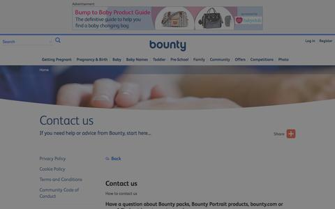 Screenshot of Contact Page bounty.com - How to get in touch or contact us | Bounty - captured Jan. 13, 2016