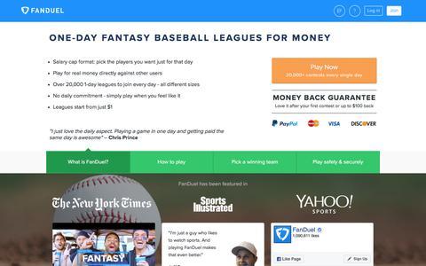 Daily Fantasy Baseball 2017 - One-Day MLB Money Leagues  | FanDuel