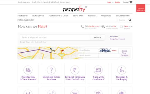 Screenshot of Support Page pepperfry.com - Contact Us - captured July 18, 2014