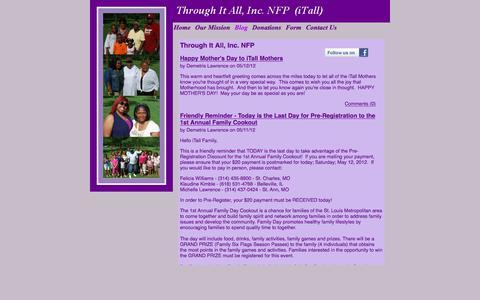 Screenshot of Blog throughitall.org - Through It All, Inc. NFP - captured Nov. 17, 2017