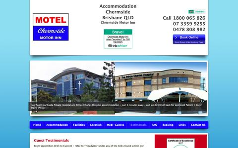 Screenshot of Testimonials Page chermsidemotorinn.com.au - Accommodation at Chermside Motor Inn - Guest Testimonials - captured Oct. 31, 2018