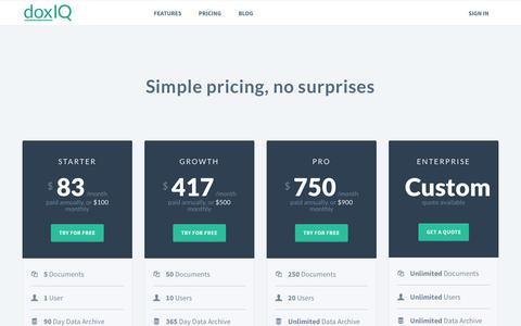 Screenshot of Pricing Page doxiq.com - doxIQ: Pricing - captured Oct. 5, 2015