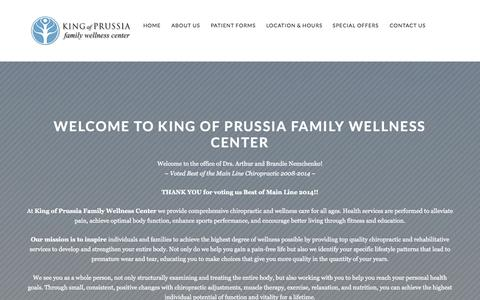 Screenshot of Home Page kopwellness.com - King of Prussia, PA Chiropractor - King of Prussia Family Wellness Center, PC - Chiropractic clinic in King of Prussia, PA - captured Oct. 6, 2014