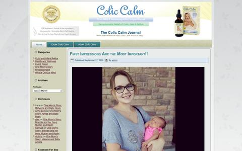 Screenshot of Blog coliccalm.com - The Colic Calm Journal - News and Information About Colic Calm and Your Baby - captured Jan. 18, 2016