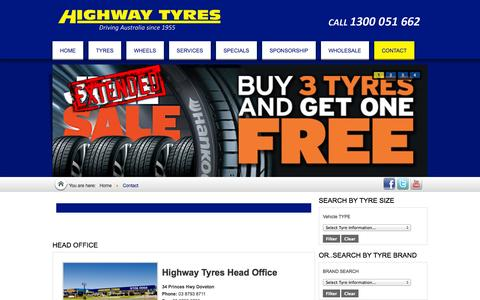 Screenshot of Contact Page highwaytyres.com.au - Highway Tyres - Contact Us: for all enquiries - captured Oct. 27, 2014