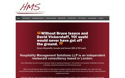 Screenshot of Home Page hmspartnership.co.uk - HMS Partnership   Generating robust commercial solutions for the catering and hospitality industry. - captured Oct. 3, 2014