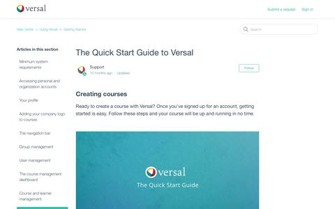 Screenshot of Support Page versal.com - The Quick Start Guide to Versal – Help center - captured Dec. 3, 2019