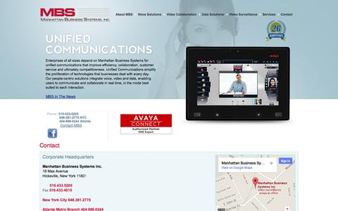 Screenshot of Contact Page mbsnetworks.com - Contact - Manhattan Business Systems, Inc. - captured Oct. 4, 2014