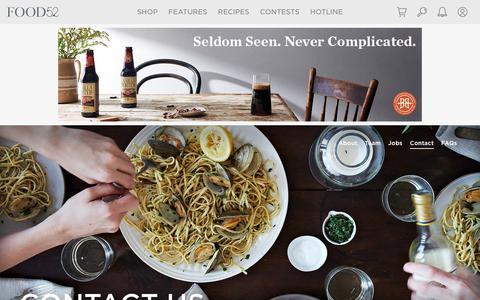 Screenshot of Contact Page food52.com - Contact Us - Food52 - captured July 1, 2017